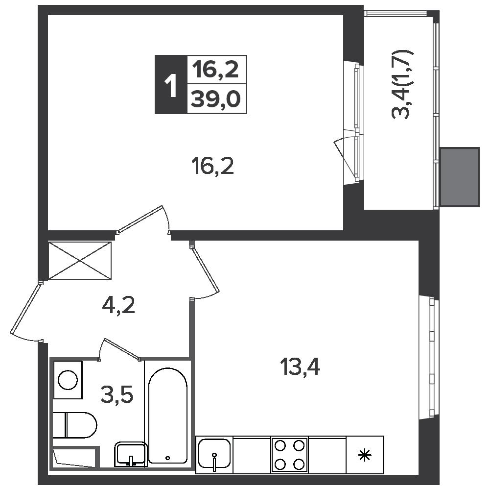 1-комнатная квартира, 39м² за 5,9 млн руб.
