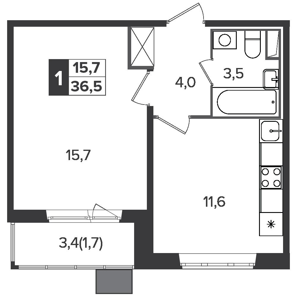 1-комнатная квартира, 36.5м² за 6,1 млн руб.