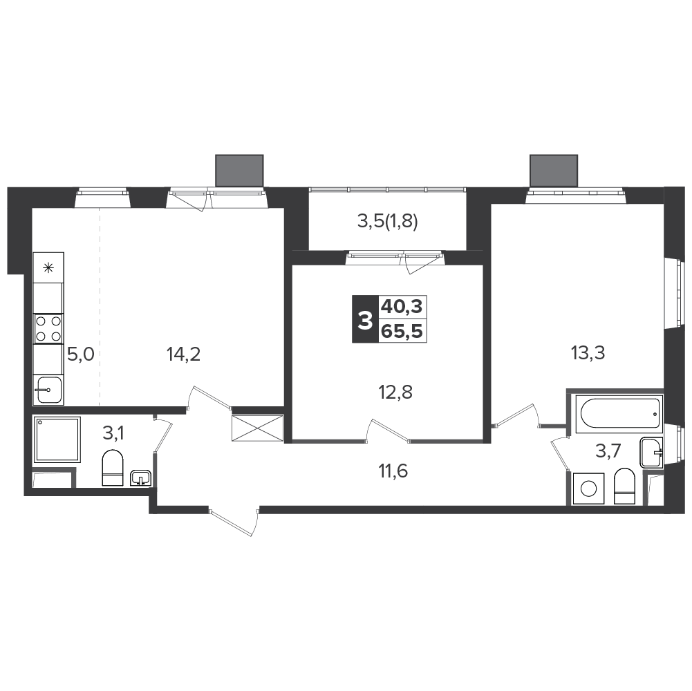 3-комнатная квартира, 65.5м² за 10,6 млн руб.