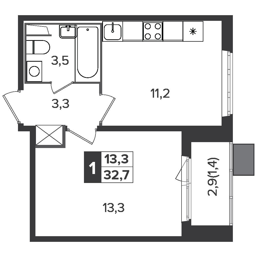 1-комнатная квартира, 32.7м² за 5,4 млн руб.