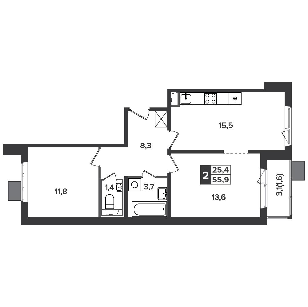 2-комнатная квартира, 55.9м² за 9,6 млн руб.