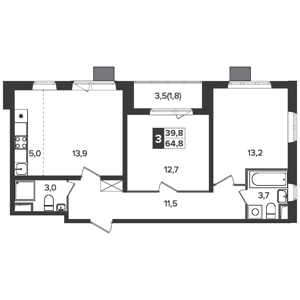 3-комнатная квартира, 64.8м² за 10,5 млн руб.
