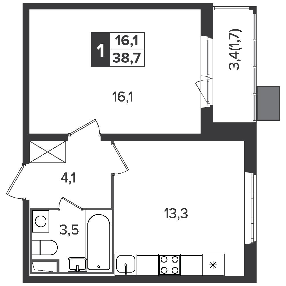 1-комнатная квартира, 38.7м² за 6,4 млн руб.