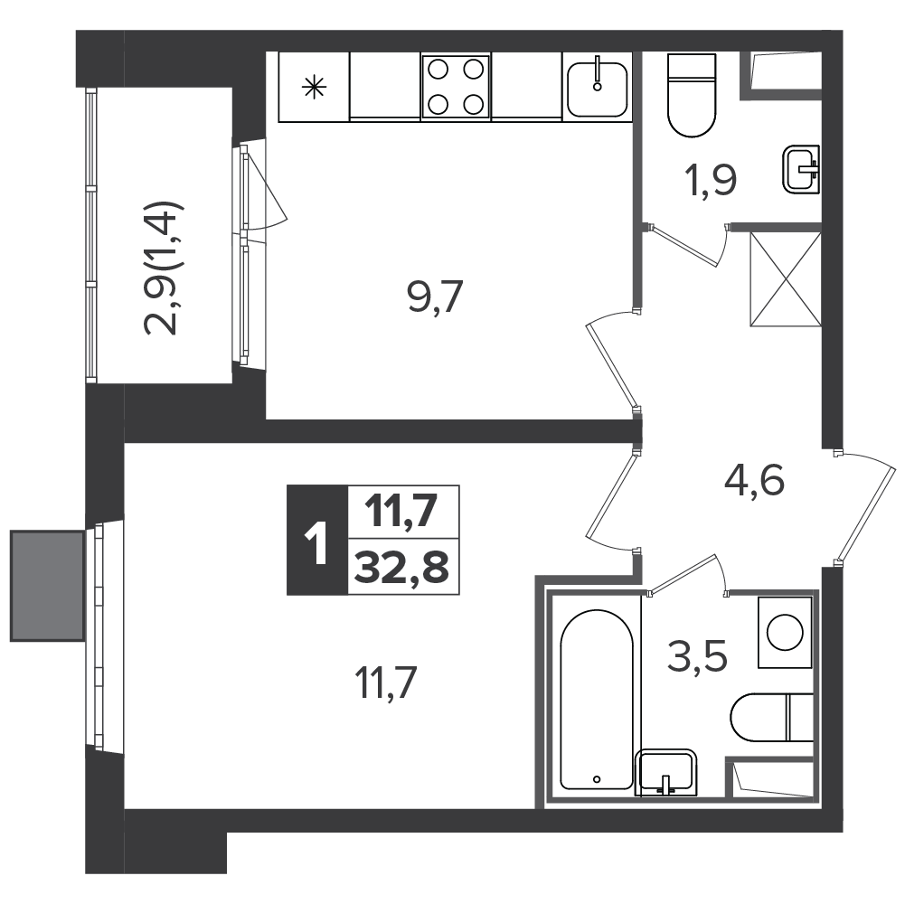 1-комнатная квартира, 32.8м² за 5 млн руб.