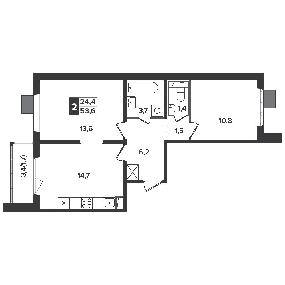 2-комнатная квартира, 53.6м² за 7,9 млн руб.