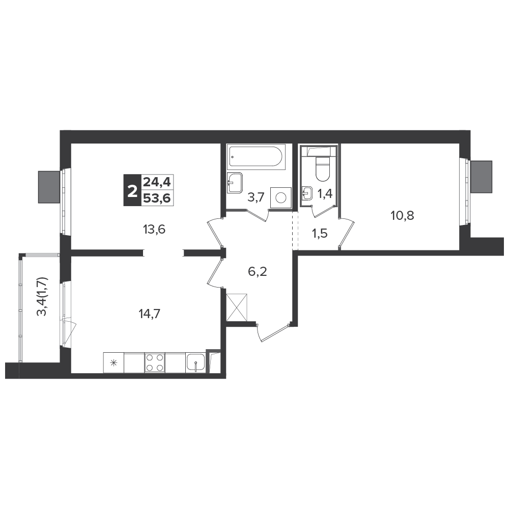 2-комнатная квартира, 53.6м² за 9,5 млн руб.