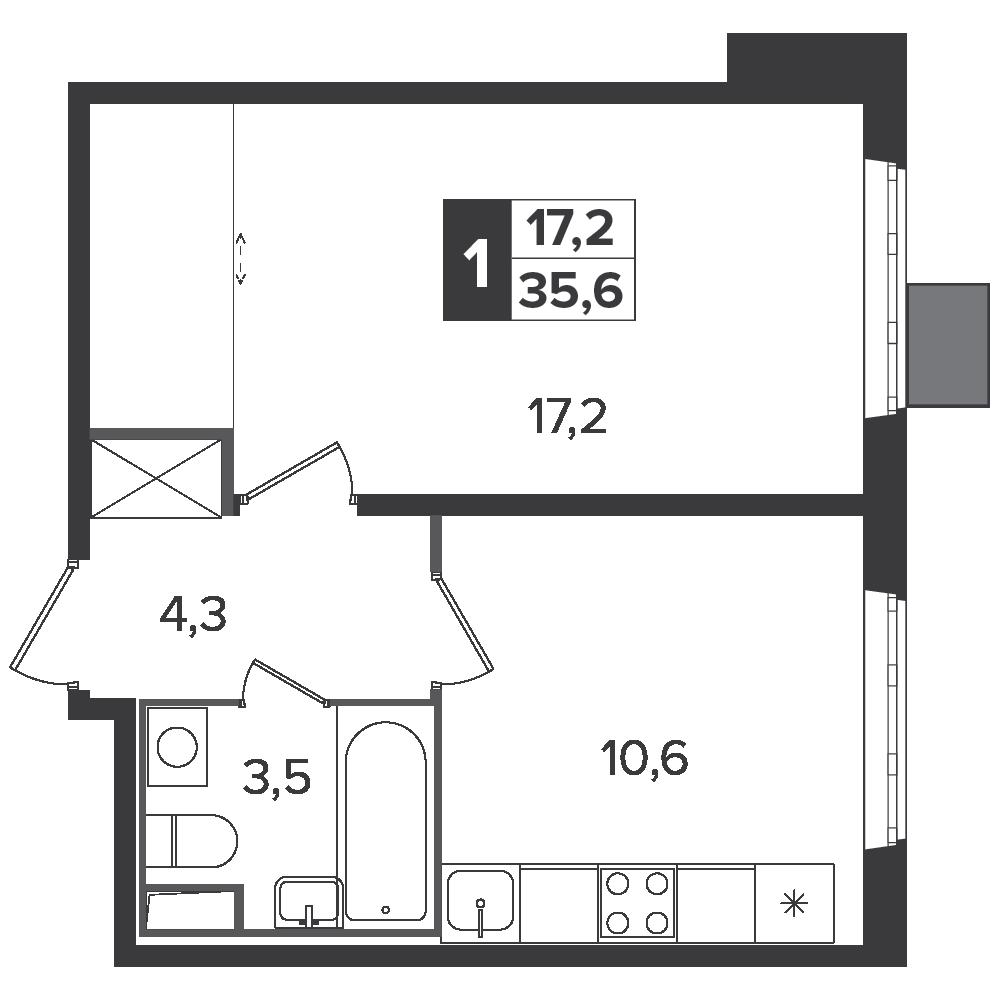 1-комнатная квартира, 35.6м² за 6,1 млн руб.