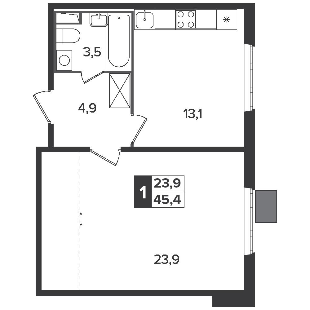 1-комнатная квартира, 45.4м² за 7,3 млн руб.