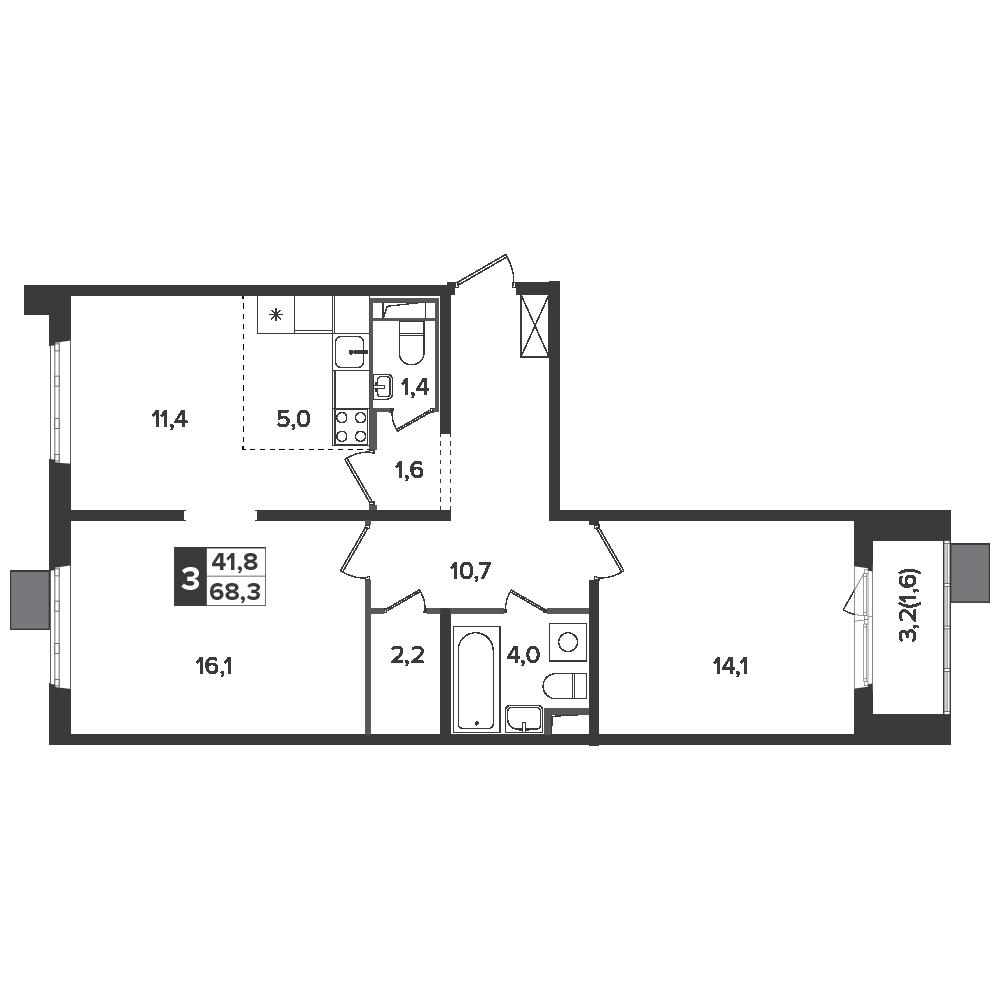 3-комнатная квартира, 68.3м² за 10,9 млн руб.