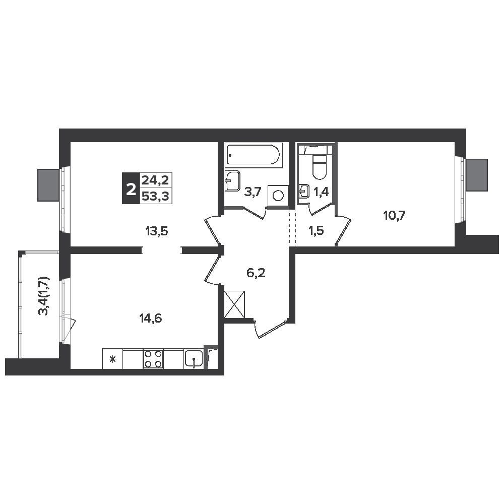 2-комнатная квартира, 53.3м² за 7,9 млн руб.