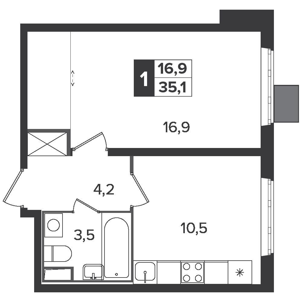 1-комнатная квартира, 35.1м² за 5,4 млн руб.