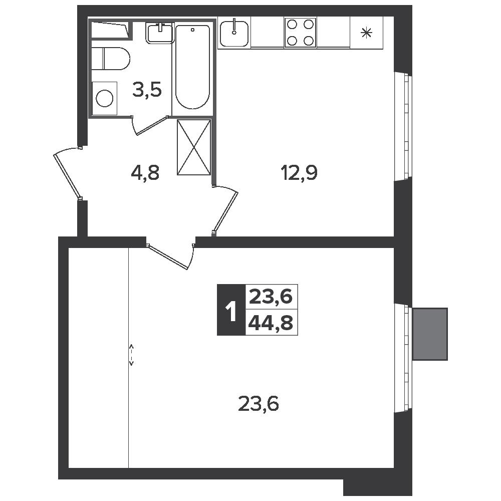 1-комнатная квартира, 44.8м² за 6,6 млн руб.